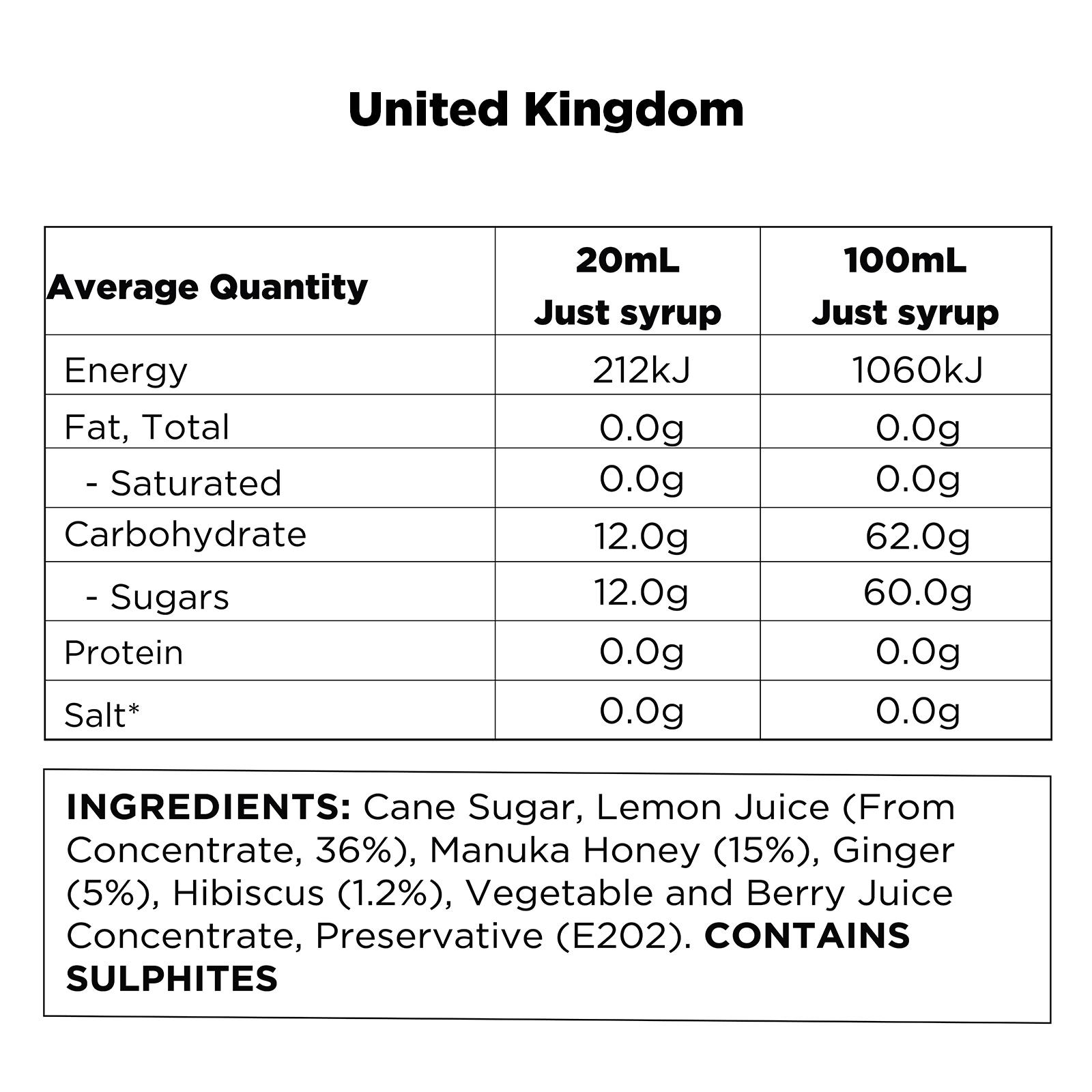 Q Hibiscus, Ginger & Manuka Honey Infusion UK