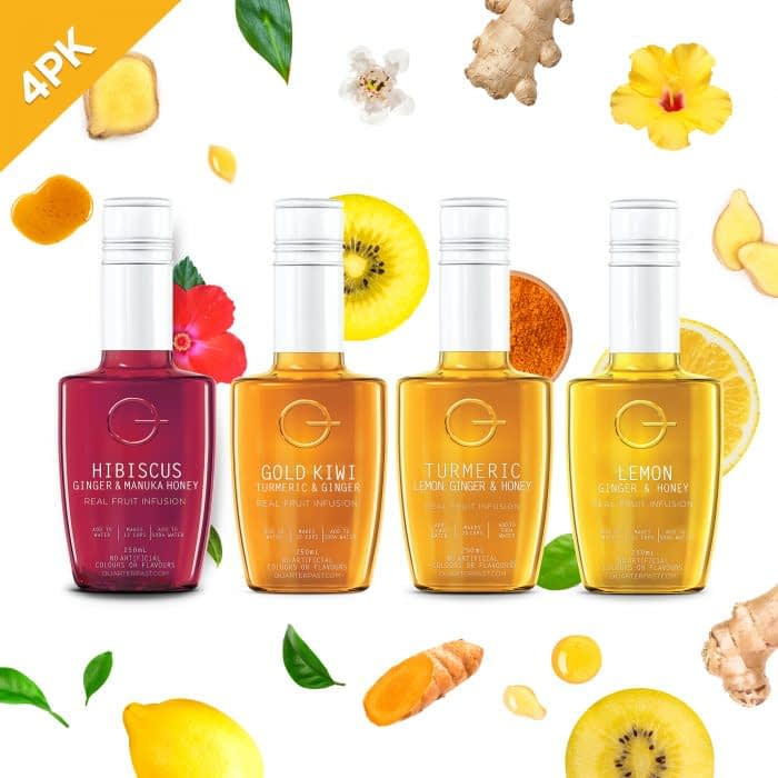 QUARTERPAST Real Fruit Infusion bottle line up with real ingredients image
